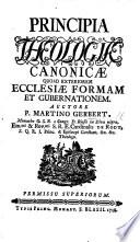 Principia Theologi   Canonic   quoad exteriorem Ecclesi   formam et gubernationem