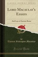 Lord Macaulay S Essays