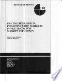 Pricing Behavior in Philippine Corn Markets