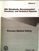 Isa Standards Recommended Practices And Technical Reports Process System Safety Book PDF