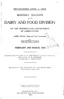 Monthly Bulletin Of The Dairy And Food Division Of The Pennsylvania Department Of Agriculture