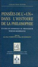 Pens  es de l  un  dans l histoire de la philosophie