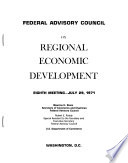 Federal Advisory Council on Regional Economic Development, Eighth Meeting, July 29, 1971