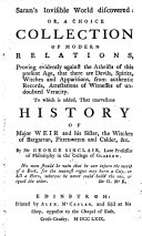 Satan s invisible world discovered  1685     A facsimile reproduction  with an introduction by Coleman O  Parsons