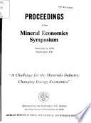 Proceedings of the Mineral Economics Symposium  November 9  1976  Washington  D  C