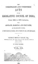 Unrepealed and Unexpired Acts of the Legislative Council of India, from 1834-[1871/72] Inclusive