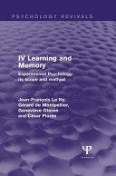 Experimental Psychology Its Scope and Method  Volume IV  Psychology Revivals