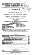 Department of the Interior and Related Agencies Appropriations for 1997