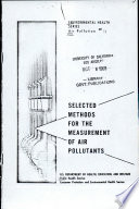 Selected Methods for the Measurement of Air Pollutants Book