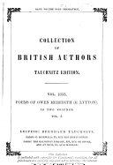Poems of Owen Meredith  Honble  Robert Lytton