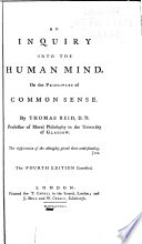 An Inquiry Into The Human Mind On The Principles Of Common Sense