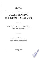 Notes on Quantitative Chemical Analysis