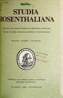 Studia Rosenthaliana