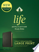"""NLT Life Application Study Bible, Third Edition, Large Print (Red Letter, Genuine Leather, Black)"" by Tyndale"