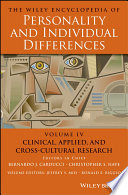 The Wiley Encyclopedia of Personality and Individual Differences  Clinical  Applied  and Cross Cultural Research