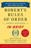Robert's Rules of Order Newly Revised In Brief, 3rd edition