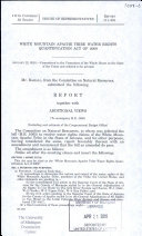 White Mountain Apache Tribe Water Rights Quantification Act of 2009