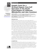 Sample Costs for a 50-Head Organic Cow-Calf Operation in the North Coast . . .