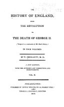The History of England  from the Revolution to the Death of George II
