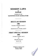 Session Laws of Hawaii Passed by the State Legislature