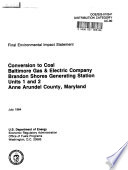 Baltimore Gas   Electric Company  Brandon Shores Generating Station Units 1 2  Anne Arundel County Book