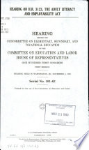 Hearing on H R  3123  the Adult Literacy and Employability Act