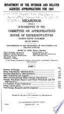 Department of the Interior and Related Agencies Appropriations for 1987