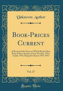 Book Prices Current Vol 27