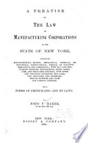 A Treatise on the Law of Manufacturing Corporations in the State of New York