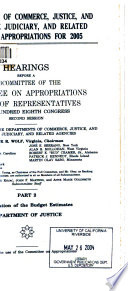 Departments of Commerce  Justice  and State  the Judiciary  and Related Agencies Appropriations for 2005