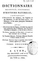 Dictionnaire raisonné, universel d'histoire naturelle