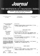 Journal of the Institution of Engineers  India   Part MM  Mining   Metallurgy Division