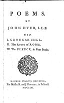 Poems  viz  i  Grongar hill  ii  The ruins of Rome  iii  The fleece