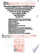 Almanach perpetuu[m] sive tacuinus Ephemerides [et] diariu[m] Abraami Zacuti hebrei