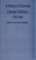 A History of German Literary Criticism, 1730-1980