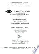Annotated Accession List of Data Compilations of the Office of Standard Reference Data Book