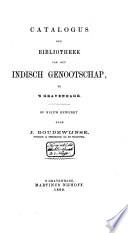 Catalogus der bibliotheek van het Indisch Genootschap, te 's Gravenhage