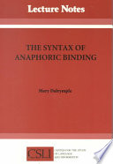 The Syntax of Anaphoric Binding