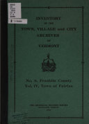 Inventory Of The Town Village And City Archives Of Vermont