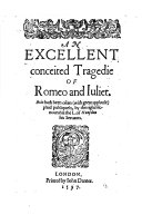 Pdf An Excellent Conceited Tragedie of Romeo and Iuliet
