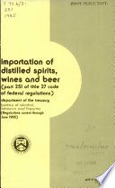 Importation Of Distilled Spirits Wines And Beer Book PDF