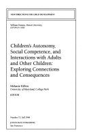 Children s Automony  Social Competence  and Interactions with Adults and Other Children