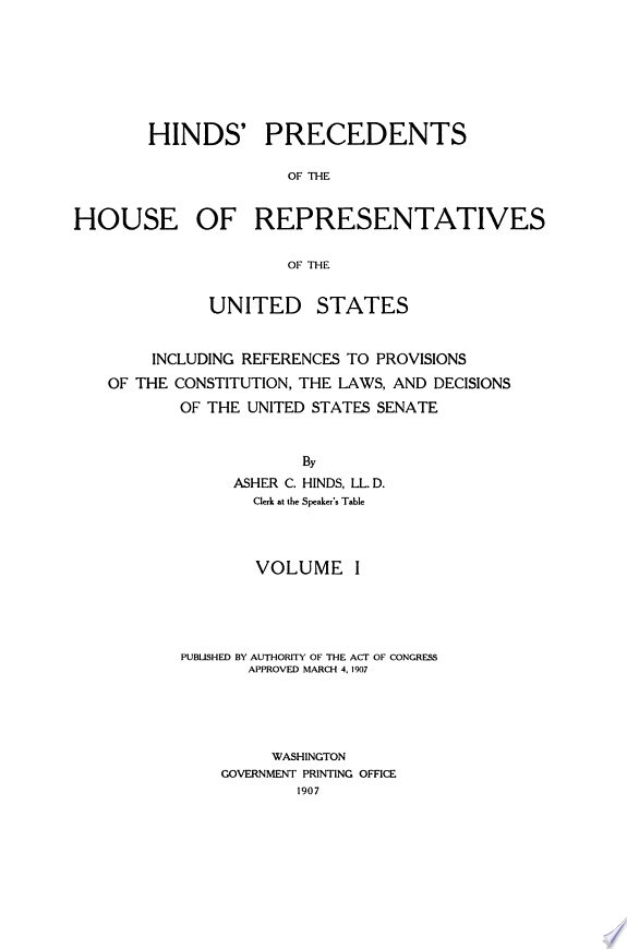 Hinds' Precedents of the House of R