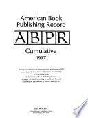 American Book Publishing Record  : ABPR annual cumulative