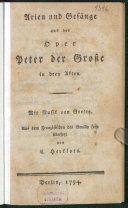 Arien und Gesänge aus der Oper Peter der Große