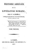 Historie abrégée de la littérature romaine, 1