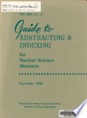 Guide to Abstracting and Indexing for Nuclear Science Abstracts