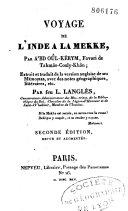 Voyage de l'Inde à la Mekke, par Abdoûl-Kerym, favori de Tahmâs-Couly-Khân