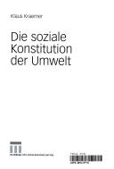 die soziale konstitution der umwelt kraemer klaus