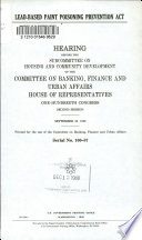 Lead Based Paint Poisoning Prevention Act Book